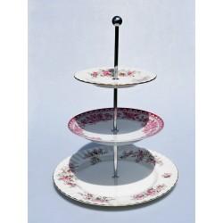 Etažér z porcelánových tanierov Colclough, celková výška 23 cm, priemer tanierov 11cm,  21cm,  27cm