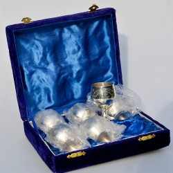 Postriebrený kovový pohár s uškom Silverplated 550 ml