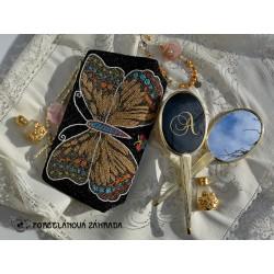 Malá látková kabelka s dekorom kvietkov 12 x 14 cm