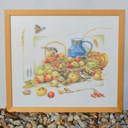 Gobelín - vyšívaný obraz Kytica v košíku 44x36,5 cm