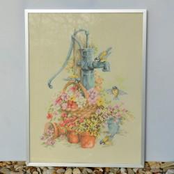 Gobelín - vyšívaný obraz Kúpeľňové zátišie 41x36 cm
