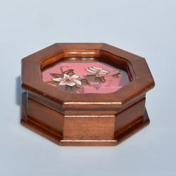 Drevená skrinka - šperkovnica s maľovaným sklom, 8 uholník, 7x17 cm