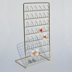 Stojací kovový zlatý stojan na 48 náprstkov, stojan 33x17 cm