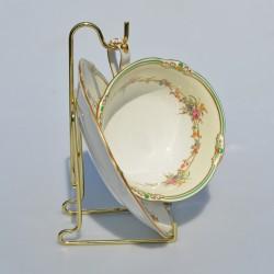 Kovový zlatý stojan na hlboké taniere max 27 cm a misy 25 cm