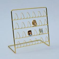 Závesný kovový zlatý stojan na 24 náprstkov, stojan 17x17 cm