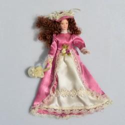 1:12 Dáma s dáždnikom -porcelánová bábika do domčeka pre bábiky, 16 cm