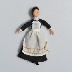 1:12 Dáma s čiernou mašľou -porcelánová bábika do domčeka pre bábiky, 14 cm