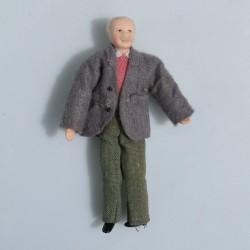 1:12 Slúžka -porcelánová bábika do domčeka pre bábiky, 15 cm, ovisnutá ruka