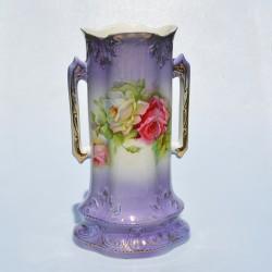Starožitná čierna váza s uškami Ruže 19x13 cm