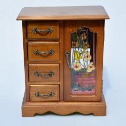 Drevená skrinka - šperkovnica so zrkadlom a maľovaným sklom 26 x21,5x12,5 cm