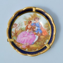 Miniatúra - porcelánový tanierik LIMOGES, Blue Cobalt, 22 karát zlato, 5,5 cm