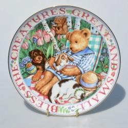 Porcelánový tanier Story Time for Teddies, Franklin Mint Heirloom 21 cm