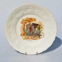 Porcelánový tanier  Locomobile 1900, priemer 24 cm, krakelovanie