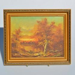 Obraz - olejomaľba Krajinka 31,5x26,5x2 cm