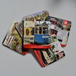 Sada - 6 ks zberateľské malé podložky Električky - Trams 9 cm, pôvod.plechovka