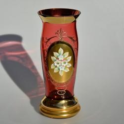 predane Stará zberateľská váza Ruže S/2194 s ozdobnými uškami, 22,5 cm, jemné krakelovanie, drobná priehlbinka na spodku