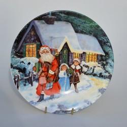 Porcelánový tanier Mikuláš - Christmas, Regency Arts 21 cm, v pôvod.obale + stojan