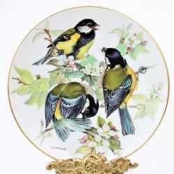 predane Porcelánový tanier Kohlmeise, 22 karát zlato, 19,5 cm + certifikát, originálne balenie