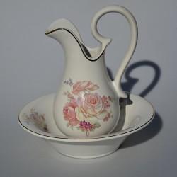 Keramická sada - džbán a miska Ruže, Loucarte, džbán 21x11 cm, misa 20,5x5 cm