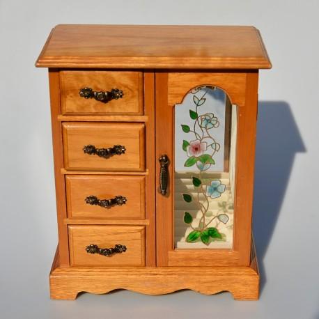 Drevená skrinka - šperkovnica so zrkadlom a maľovaným sklom 27,5 x22,5x11 cm