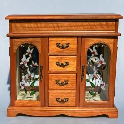 ? predane ? Drevená skrinka - šperkovnica so zrkadlom a maľovaným sklom 31x33,5x12,5 cm