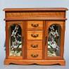 Drevená skrinka - šperkovnica so zrkadlom a maľovaným sklom 31x33,5x12,5 cm