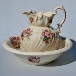 Veľká umývacia sada Jarné kvety, England, džbán 30x24 cm, misa 38x11 cm.