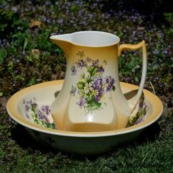 Veľká umývacia sada Ruže, Cagland, džbán 29x22 cm, misa 37x11 cm, krakelácia - iba ako dekor