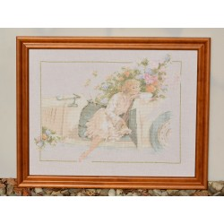Gobelín - vyšívaný obraz Studňa s kvetmi 41x31 cm