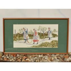 predané Gobelín - vyšívaný obraz Dievčatá so stuhami 54 x 43 cm