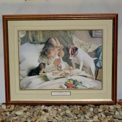 Obraz Hrajúce sa deti Charles Burton Barber 54 x 44 cm, na ráme  miestami ošuch