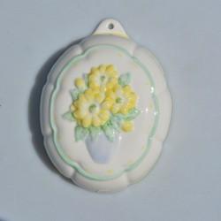 Porcelánová formička Žlté kvety 15,5x11,5x5 cm
