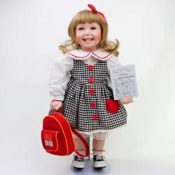 predane 52 cm Porcelánová bábika s meštekom Rosemary, Alberon + stojan, bez topánok