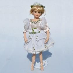 Porcelánová bábika - balerína s balet. špičkami + stojan 40 cm