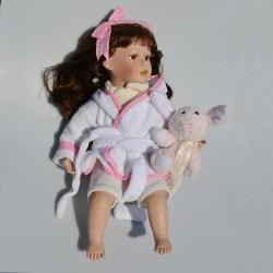 33 cm Porcelánová sediaca bábika s čipkami