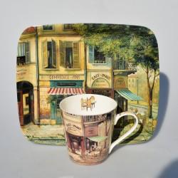 Sada 2 ks - porcelánový  hrnček + podložka, Leonardo Collection, 320 ml, podložka 10,5 x 10,5 cm