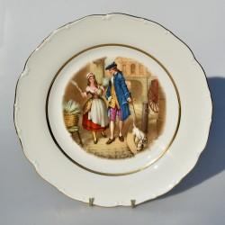 Porcelánový tanier Dáma a gavalier, Meakin 24 cm