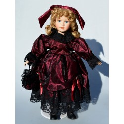 42 cm Zberateľská porcelánová bábika Katie, Leonardo Collection + kovový stojan