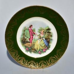 Porcelánový tanier Dáma a gavalier, Czechoslovakia 24,5 cm