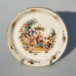 Porcelánový tanierik  Meissner LIMOGES, Dáma a gavalier 10,3 cm