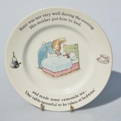 Zberateľský porcelánový tanier Bunnykins, ROYAL DOULTON 14 cm, miestami ošuch motívu