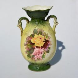Starožitná zelená váza s uškami Ruže 24x14 cm, krakelácia - iba dekor
