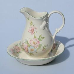 predane Keramická sada - džbánik a miska Modré kvety,džbán  12 cm, miska 14x2,5 cm, krakelácia- len ako dekor