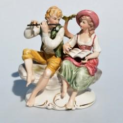 predane Porcelánová soška Hudobné duo 20,5 cm
