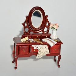 1:12 Drevený toaletný stolík so zrkadlom Ruže 16,5x10x4,5 cm