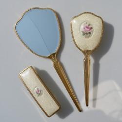 Predané Sada na česanie - kefa + zrkadlo + kefa Ruže a kvietky, zrkadlo 31,5 x 12,5 cm