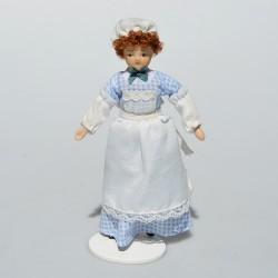 1:12 Zberateľská porcelánová bábika - slúžka do domčeka pre bábiky 15,5 cm