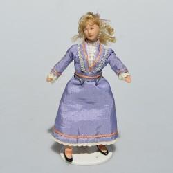 1:12 Dáma s dáždnikom - porcelánová bábika do domčeka pre bábiky, 16,5 cm