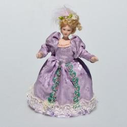 1:12 Dáma vo fialovom - porcelánová bábika do domčeka pre bábiky, 14 cm, naklonená hlava, bez stojanu
