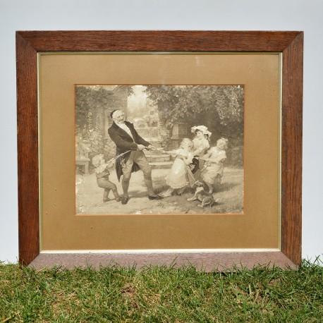 Starožitný obraz - print Ilfracombe Harbour 34x24 cm, v pôvodnom stave